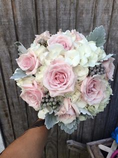 Wedding bouquet of White hydrangea, Sweet Eskimo, brunia and Dusty Miller