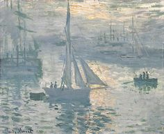 Claude Monet (French, Impressionism, 1840-1926): Sunrise (Marine), 1873. Oil on canvas, 19-1/4 x 23-1/2 inches (48.9 x 59.7 cm). J. Paul Getty Museum, Los Angeles, California, USA.