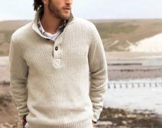 Mano Polo de los hombres de punto mano de cuello por BANDofTAILORS Dapper Man, Men's Sweaters, Knitting Patterns, Men's Fashion, London, Shirts, Outfits, Nightgown, Casual Wear