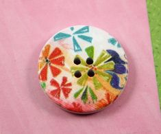 Wooden Buttons - Colorful Windmill Flowers Picture Natural Wood Buttons, 1.18 inch (6 in a set) on Etsy, $3.50