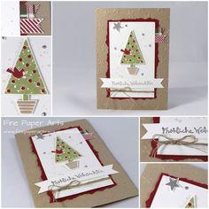 WEIHNACHTSKARTE CHRISTBAUMFESTIVAL Meine erste Weihnachtskarte für diese Saison...in ganz traditionellen Farben: Savanne, Farngrün und Chili. Ich muss gestehen, dass das Basteln mir ein bisschen sc...