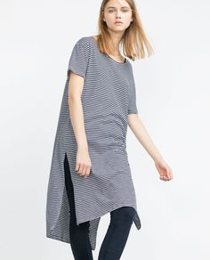 Image 2 of LONG T-SHIRT WITH SLITS from Zara