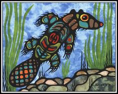 Swimming beaver by Ayla Bouvette, Métis artist. Native American Artists, Native American History, Canadian Artists, First Nations, Kunst Der Aborigines, Woodland Art, American Indian Art, Indigenous Art, Aboriginal Art