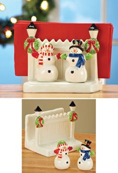 3 PC Snowman Salt and Pepper Shakers and Napkin Holder Set