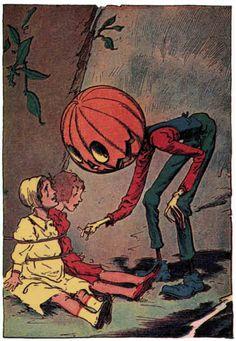Jack Pumpkinhead assists some children in distress - Artist: John R. Neill  Little Wizard Stories of Oz by L. Frank Baum, 1913