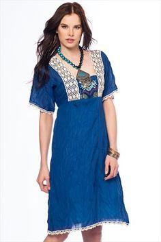 Trend: Etnik Esintiler - Saks Elbise 138 %39 indirimle 99,99TL ile Trendyol da