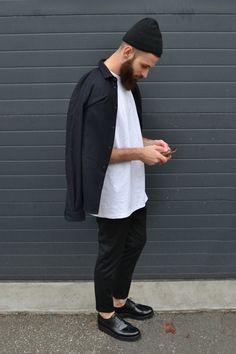 Acne studios beanie Sandro shirt AMI trousers Grenson shoes