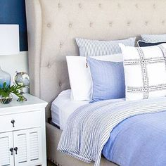 Achieve the coastal Hamptons style with the Louvre white bedside tables, with plantation style cupboard doors and a single top drawer you'll have plenty of room for a lamp, book & cup of tea pic via @designscout_interiors #canvasandsasson