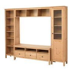 HEMNES Combinaison meuble TV, brun clair brun clair 246x197 cm