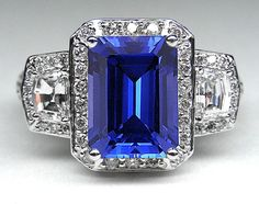 Emerald Cut Blue Sapphire Vintage Ring