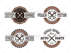 Realistic Graphic DOWNLOAD (.ai, .psd) :: http://vector-graphic.de/pinterest-itmid-1008433494i.html ... Vector Auto Emblems ... art, auto, badge, car, cogwheel, craft, crossed, design, emblem, garage, good, graphic, illustration, piston, quality, repair, retro, service, set, speed, stamp, style, vector, vintage, workshop, wrench ... Realistic Photo Graphic Print Obejct Business Web Elements Illustration Design Templates ... DOWNLOAD…