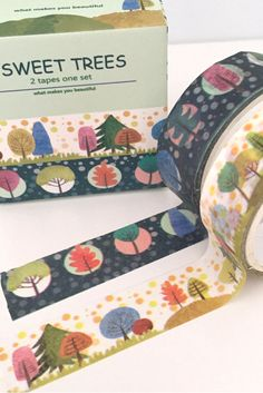 Coloured Tree Washi Tape Design. So many patterns and colours to choose from, and so many crafty uses! Great for DIY craft decoration projects. Add that personal touch to frames, candles, notebooks and journals. Easy to use for kids craft activities - no mess!