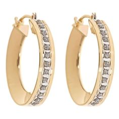 Let's all help create jobs here in America by buying American made! 14K Yellow Gold Diamond Accent Small Hoops #keepamerica #Madeintheusa #americanmade