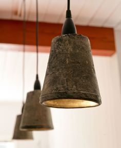 """""""Flowerpot pendants: simple, recycled DIY...""""- I think i'd put gold leaf in the inside...pretty!"""