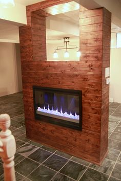wood paneled fireplace...love it