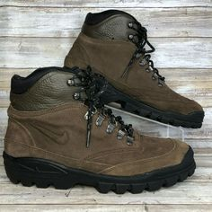 b8649c53c066b Nike 10M Brown Suede Hiking Camping Trail Ankle Boot Metal Ring Speed Laces  Mens