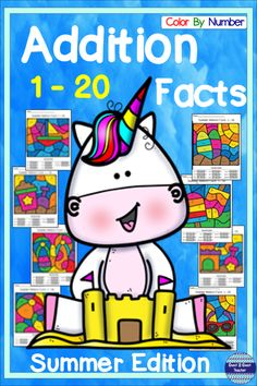 Summer: Addition Facts 1 - 20 Color By Number Independent Learning Packet - Modern Design Addition Facts, Math Addition, Addition And Subtraction, Calming Activities, Summer Activities, Activities For Kids, Teaching Math, Kindergarten Math, Maths