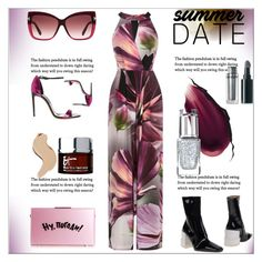 """Summer Date:Rooftop Bar"" by dragananovcic ❤ liked on Polyvore featuring Coast, Maison Margiela, Hourglass Cosmetics, Leighton Denny, Tom Ford, Bare Escentuals, It Cosmetics and Casadei"