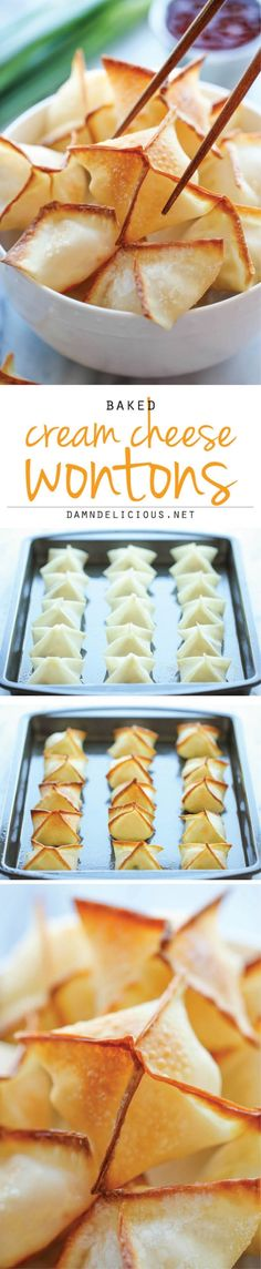 Baked Cream Cheese Wontons - No one would ever believe that these crisp, creamy wontons are actually baked, not fried! And they're so easy to make! No shrimp for me though, I'll take plain cream cheese yummy :) Tapas, Cream Cheese Wontons, Cream Cheese Chicken, Great Recipes, Favorite Recipes, Popular Recipes, Fingers Food, I Love Food, Food To Make