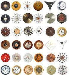 George Nelson starburst clocks, any. George Nelson, Mid Century Decor, Mid Century House, Mid Century Style, Retro Clock, Vintage Clocks, Cool Clocks, Alexander Girard, Modern Love