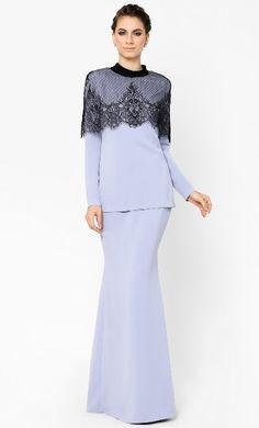 Trendy Dresses, Fashion Dresses, Ladies Dresses, Long Dresses, Hijab Fashion, Prom Dresses, Baju Kurung Moden Lace, Braids Maid Dresses, Lace Top Dress
