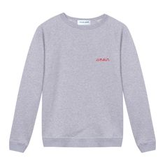 Grey Embroidered Amour Sweatshirt ($110) ❤ liked on Polyvore featuring men's fashion, men's clothing, men's hoodies, men's sweatshirts, tops, sweaters and mens grey sweatshirt