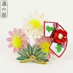 Maiko Mini Aster and Fan Kanzashi Clip by WisteriaGardens