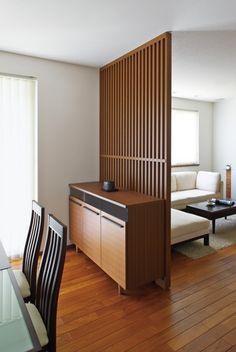 以前の住まいの収納家具を計画的に配置 Stair Railing, Stairs, Partition Screen, Japanese Screen, Japanese Architecture, Kitchen Dining, Living Room, Screens, Wood