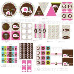 Elephant Girl Baby Shower Printable DIY Party Package.-Pink, Brown, Lime - Instant Download. $12.00, via Etsy.