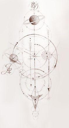 Fun Geometric Galaxy with family astrological constellations. Tattoo Drawings, Body Art Tattoos, Small Tattoos, Dream Tattoos, Future Tattoos, Compass Tattoo, Tattoo Geometrique, Sacred Geometry Symbols, Planet Tattoos