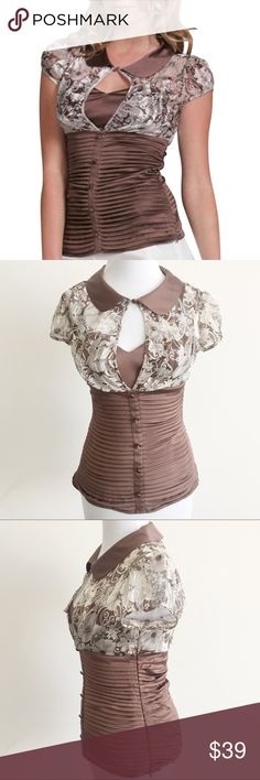 """arden b • brown pleated peter pan chiffon top Beautiful top features brown & white chiffon print on upper part, soft pleats on lower part, covered buttons down front, peter pan collar, & attached half cami with sweetheart neckline. Slightly puffed cap sleeves. Button at collar. Invisible side zipper.   • sz M • 34"""" bust, 27"""" waist, approx 25"""" length  • 100% silk, shell 2: 93% silk, 7% spandex  • FLAWS: Some of back pleats need to be re-pressed into place. Tiny spot on cami, not very…"""