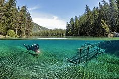 The crystal clear waters of Green Lake in Tragoess, Styria, Austria, which is a dry park in the winter!