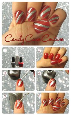 Day 4: Learn how to create 'Christmas Candy Cane Nails'