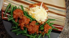 Healthy Chicken Parmesan with Green beans