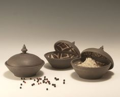 Ceramic Salt Cellar/Inside out jars 3.5 dia by flmceramics on Etsy