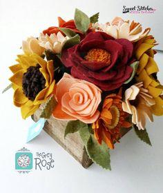 Flower Box Felt Flower Box Flower Arrangements by thegreyrose