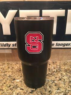Custom YETI Rambler Tumbler and Bottles Powder Coated in Matte Black with TWO North Carolina State University Decals