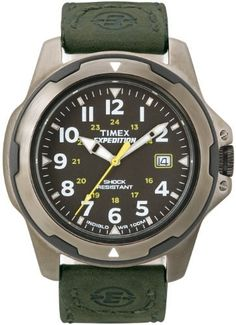Timex Men's T49271 Expedition Rugged Field SHOCK Analog Watch Timex. $59.46. Metal case; black dial; date function. Water-resistant to 330 feet (100 M). Strong mineral crystal protects dial from scratches and scrapes. Case diameter measures 43 mm. Quartz movement. Save 15%!