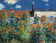 The Artist's Garden at Vétheuil,1881Claude Monet (detail) it is so cool. Is this a painting? It doesn't look like it...