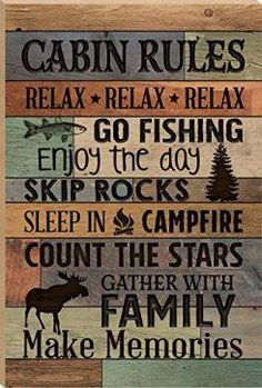 I love the look of distressed wood wall decor in fact reclaimed wood wall decor is more popular than ever.  Whether it be barnwood wall art, distressed wall clocks or even rustic wooden art you can find something cool for your home.  Cabin Rules Make Memories Fish Moose 24 x 16 Faux Distressed Wood Barn Board Wall Mounted Sign