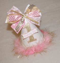 NEW Glitter Gold and Pink Party Hat - Chevron, Polka Dot, Glitter - Princess, Frozen , Glam Party - by shoplissy