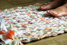 Recycle your old bed sheet into a lovely woven rag rug..