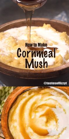 Old-fashioned, comforting cornmeal mush recipe that you can serve as a hot porridge cereal for breakfast, or as a side dish to a main dish at dinner time.  #cornmeal #mush #recipe #comfortfood