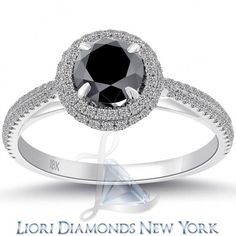 1.13 Carat Certified Natural Black Diamond Engagement Ring 18k Gold Pave Halo - Black Diamond Engagement Rings - Engagement - Lioridiamonds.com - MOTHERS DAY SALE!!!