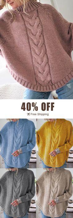 0f4447b9f8 40% off&Free shipping. Women Solid Color Irregular Hem Bat Sleeve Knit  Sweaters