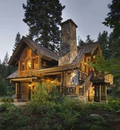 Rustic home, casa rústica, casa de campo, casa de madeira com pedra Log Cabin Living, Log Cabin Homes, Log Cabins, Timber Frame Homes, Timber House, Wooden House, Future House, Cabins And Cottages, Cabins In The Woods