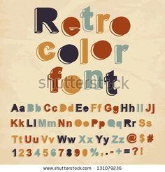 Retro color font. Vector illustration