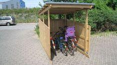 Backyard Shed Plans Stroller Storage, Bike Storage, Farmhouse Sheds, Bike Shelter, Range Velo, Shed House Plans, Cheap Sheds, Shed Doors, Bike Shed