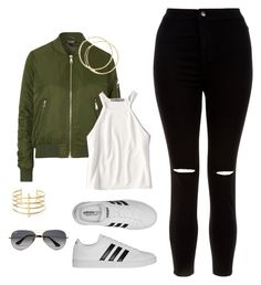 """""""Untitled #1"""" by beccalynn9600 ❤ liked on Polyvore featuring New Look, adidas, Topshop, American Eagle Outfitters, BauXo and Ray-Ban"""