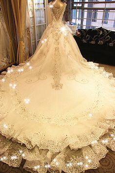 A-line V-neck Tiered Chapel Train Lace Semi Transparent Jewelry Back Wedding Dresses
